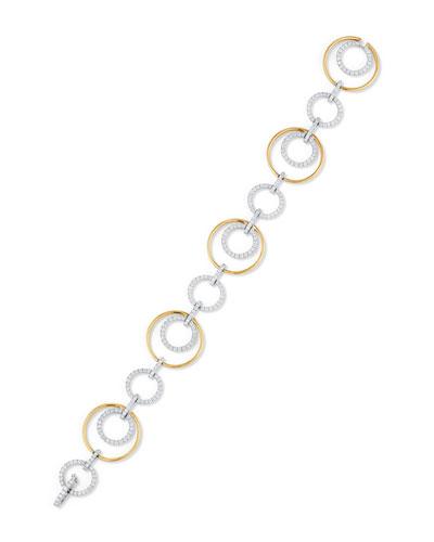 Two-Tone Circle Link Bracelet with Diamonds