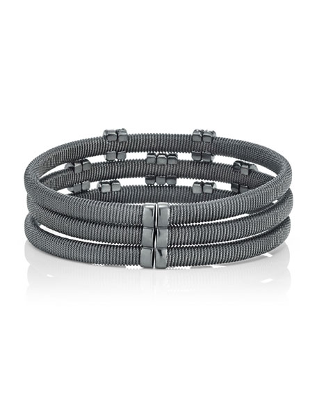 Spiral Cable Bracelet with Diamond Rondelles