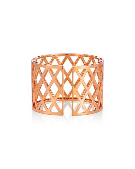 Diamond Lattice Cuff Bracelet in 18K Rose Gold