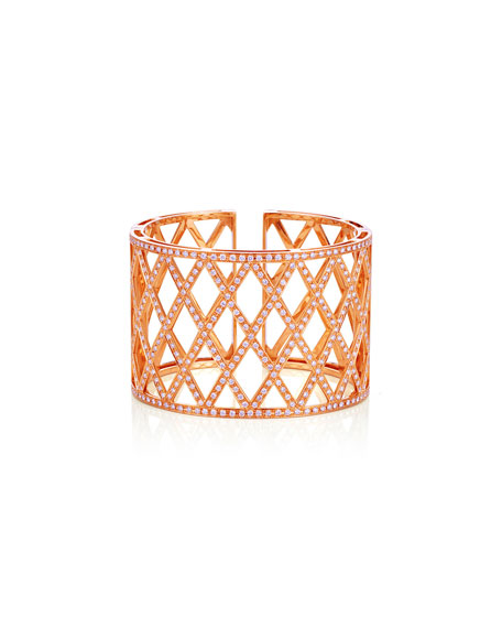 Diamond Lattice Cuff Bracelet in 18K Rose Gold