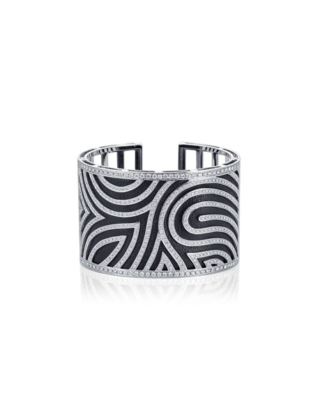 Diamond Swirl Cuff Bracelet with Leather Strap