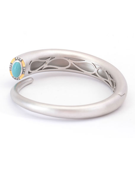 COOMI Vitality Cuff Bracelet with Turquoise & Diamonds