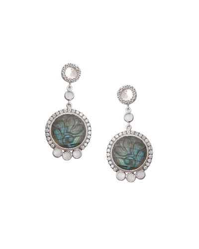 Affinity Round Carved Labradorite Earrings with Diamonds