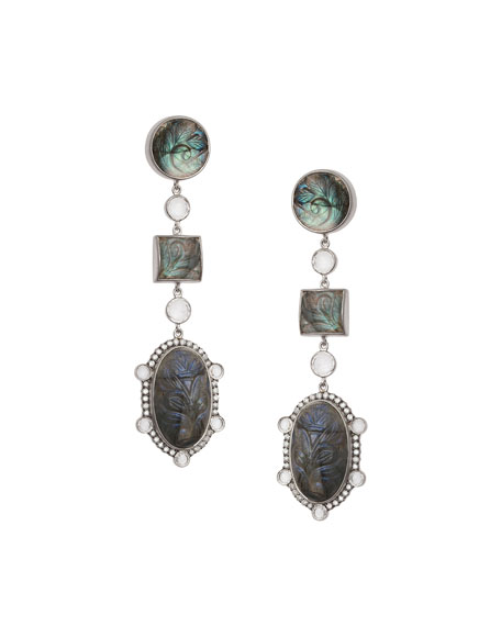 Affinity Three-Drop Labradorite Earrings with Diamonds