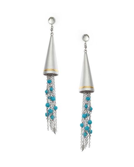 Vitality Beaded Turquoise Tassel Cone Earrings