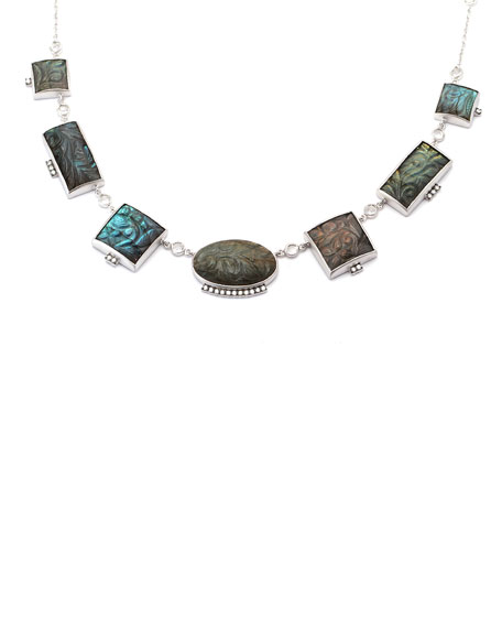 "Affinity Short Carved Labradorite Necklace with Diamonds, 16"""