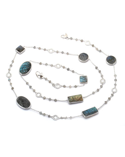 Affinity Long Carved Labradorite Station Necklace with Diamonds, 36