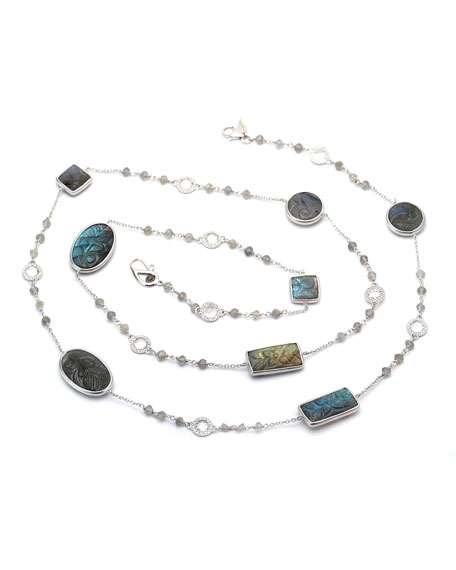 COOMI Affinity Long Carved Labradorite Station Necklace with