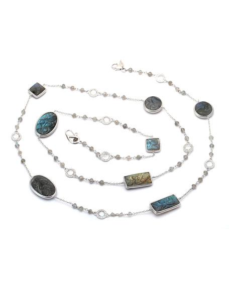"Affinity Long Carved Labradorite Station Necklace with Diamonds, 36"""