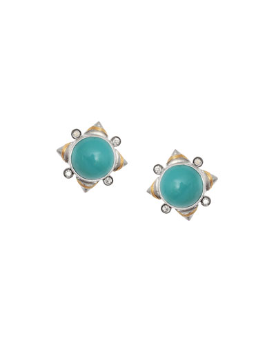 Vitality Turquoise & Diamond Stud Earrings