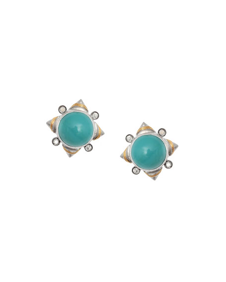 COOMI Vitality Turquoise & Diamond Stud Earrings