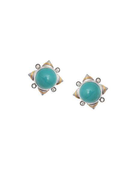 Vitality Turquoise & Diamond Stud Earrings