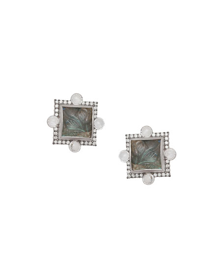 Affinity Carved Labradorite Stud Earrings