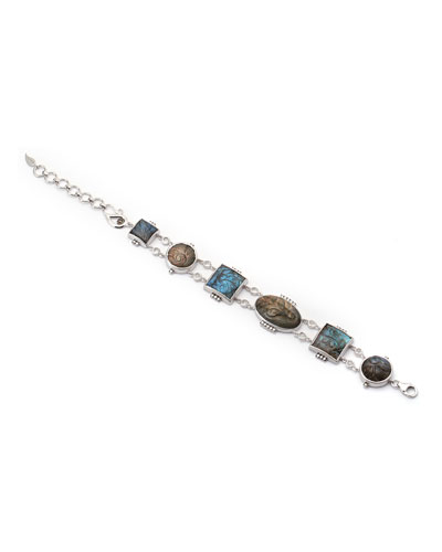 Affinity Carved Labradorite Station Bracelet with Diamonds