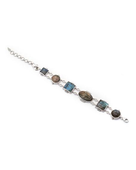 Affinity Carved Labradorite Station Bracelet with Diamonds