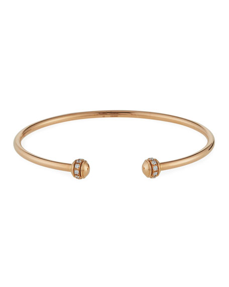 Possession Thin 18K Red Gold Open Bangle with Diamonds, Size M