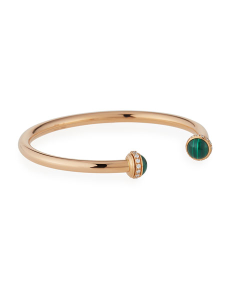 Possession 18K Red Gold & Malachite Cabochon Bracelet with Diamonds, Size L