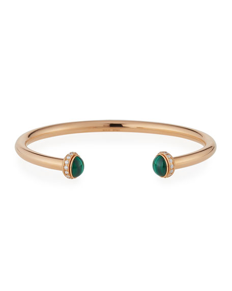 Piaget Possession 18K Red Gold & Malachite Cabochon Bracelet with Diamonds, Size L