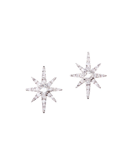 Diamond Starburst Earrings in 18K White Gold