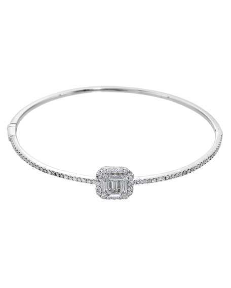 Graziela Gems Ascension Medium 18K White Gold Bangle with Diamonds