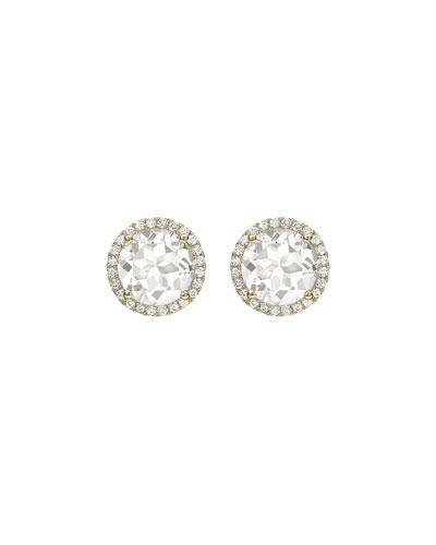 Grace White Topaz & Diamond Halo Stud Earrings in 18K Yellow Gold