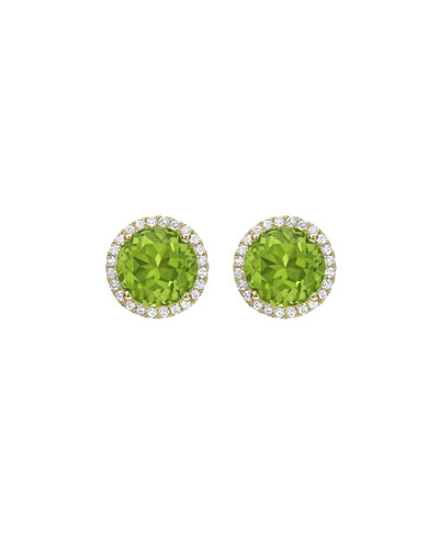 Grace Peridot & Diamond Halo Stud Earrings