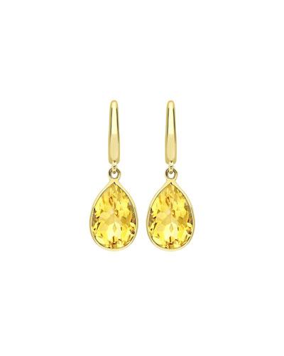 Kiki Classic Pear Drop Earrings in Citrine & 18K Gold