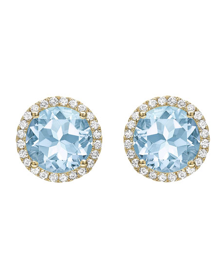 Grace Blue Topaz & Diamond Stud Earrings