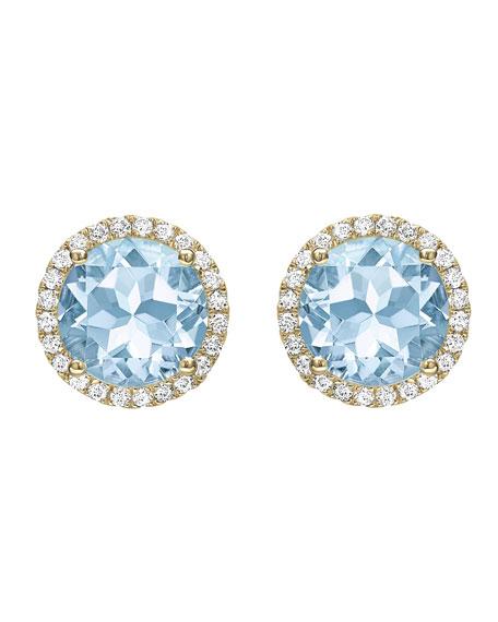 Grace Blue Topaz & Diamond Stud Earrings