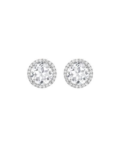 Grace White Topaz & Diamond Halo Stud Earrings in 18K White Gold