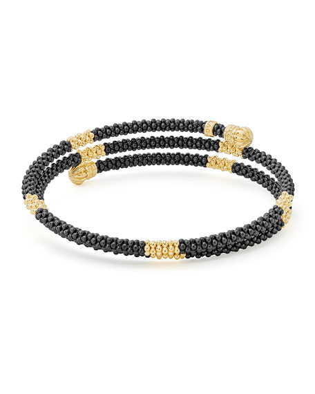 Black Caviar & 18K Gold Medium Striped Coil Bracelet