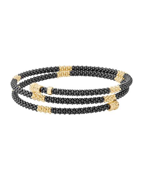 Black Caviar & 18K Gold Medium Striped Coil Bracelet