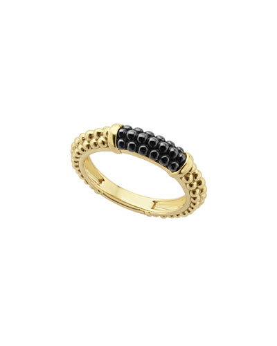 18K Gold & Black Ceramic Caviar Band Ring, Size 7