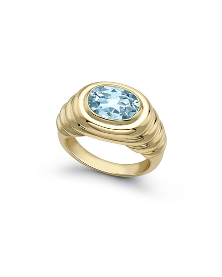 Eternal Blue Topaz Ripple Ring in 18K Gold, Size 6