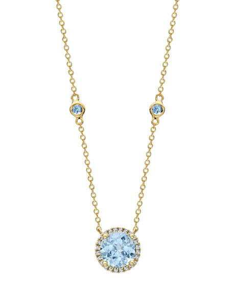Kiki McDonough Grace Blue Topaz & Diamond Halo
