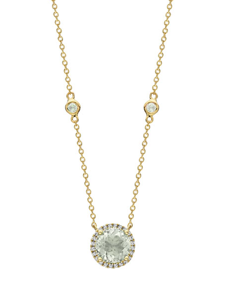 Grace Green Amethyst & Diamond Halo Pendant Necklace