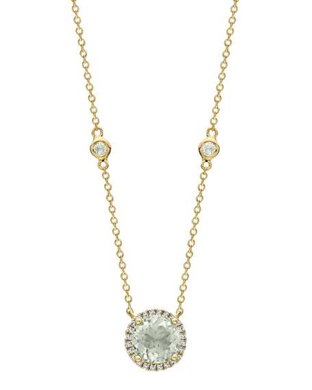 Grace Prasiolite & Diamond Halo Pendant Necklace