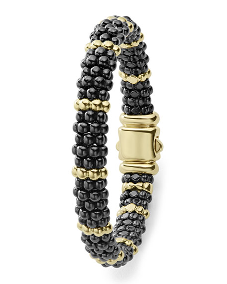 9mm 18K Gold & Black Caviar Bracelet