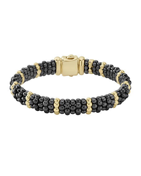 9mm 18K Gold & Black Caviar Bracelet