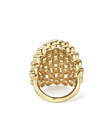 18K Gold Bold Caviar Done Ring, Size 7