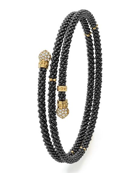 Black Caviar Coil Bracelet with Diamonds