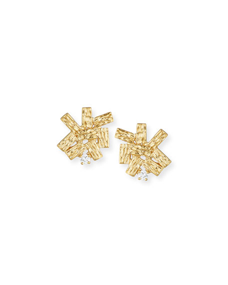 14K Gold Burst Earrings with Diamonds