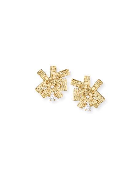 14K Gold Burst Earrings with Diamonds