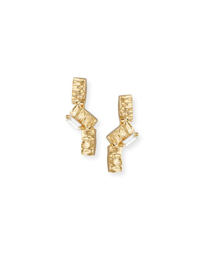 14K Zigzag & White Diamond Baguette Earrings
