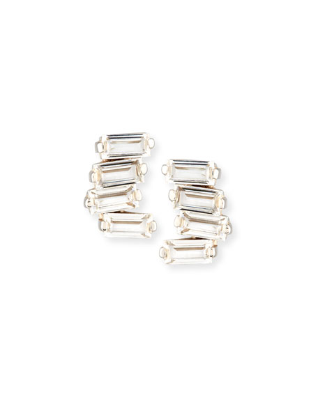 Signature Mini Fireworks Bar Stud Earrings in 14K White Gold