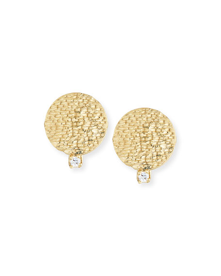 Textured Round Disc & Diamond Earrings