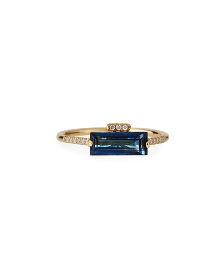 East-West Blue Topaz Baguette Ring with Diamonds, Size 6.5
