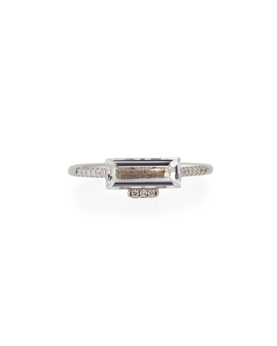 East-West White Topaz Baguette Ring with Diamonds, Size 6.5