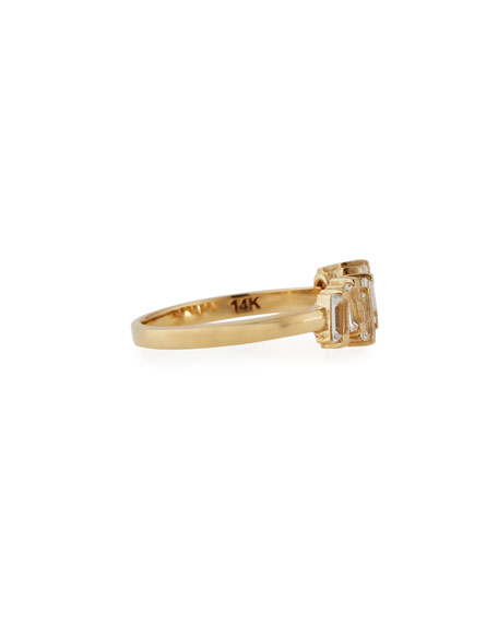 Fireworks Baguette White Topaz Band Ring in 14K Yellow Gold, Size 6.5