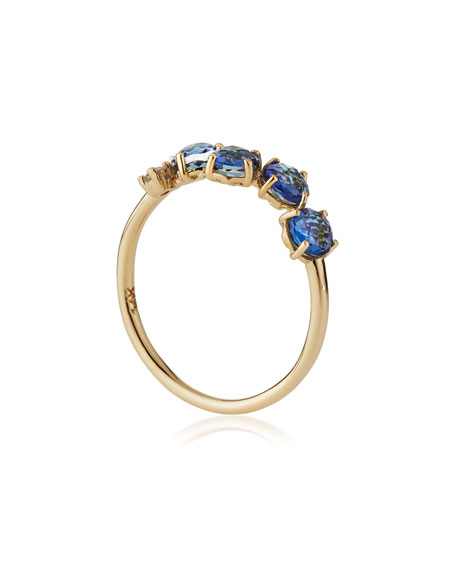 Mini Burst Blue Topaz Band Ring with White Diamond Accent, Size 6.5